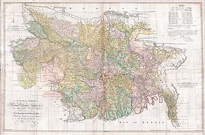Undivided Kamrup district - James Rennell's 1776 map shows the eastern boundary of the British controlled regions before 1824