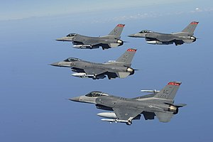 177th Fighter Wing - A formation of Four U.S. Air Force F-16 Fighting Falcons from the 177th Fighter Wing N.J. Air National Guard flies a training mission Aug. 18, 2009 near Atlantic City, N.J.