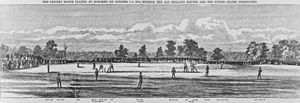 English cricket team in North America in 1859 - A wood engraving of the match at Hoboken, New Jersey.