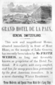 1885 Hotel Paix Geneva ad Harpers Handbook for Travellers in Europe.png