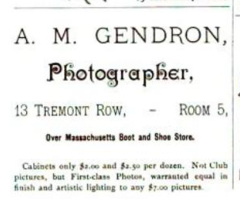 1888 Gendron photographer advert Boston Journal of Health v2 no1.png
