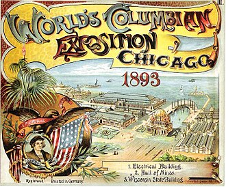 World's Columbian Exposition - Advertisement for the Exposition, depicting a portrait of Christopher Columbus