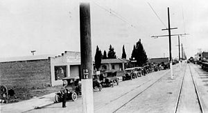 Moses Sherman -  1920 Sherman Way in downtown Owensmouth, with Los Angeles Pacific Railroad line