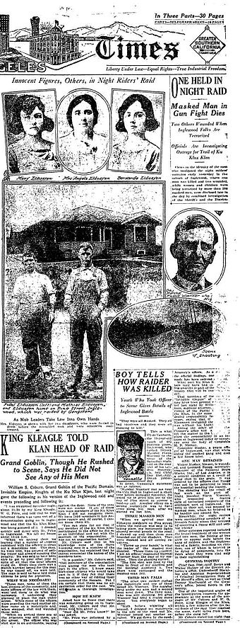 Partial front page of the Los Angeles Times for Monday, April 24, 1922, displaying coverage of a Ku Klux Klan raid in an L.A. suburb 1923.04.22-Los Angeles Times Front Page.jpg