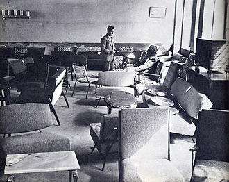 Mohammad Qayoumi - Afghanistan Furniture display room, originally published in a photobook about Afghanistan produced by the country's planning ministry; republished in Once Upon a Time in Afghanistan... Record stores, Mad Men furniture, and pencil skirts -- when Kabul had rock 'n' roll, not rockets by Mohammad Qayoumi.