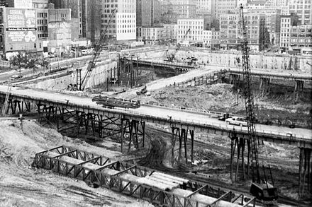 Excavation of the World Trade Center site, as seen in 1968 1968 Excavation WORLD TRADE CENTER TWIN TOWERS NYC01.JPG
