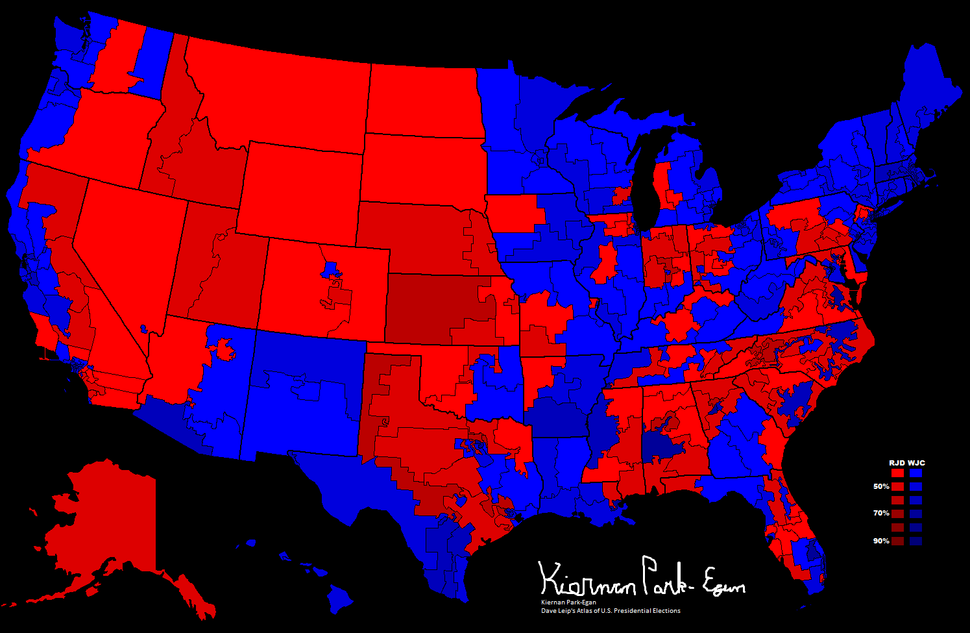 1996 Presidential Election, Results by Congressional District