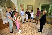 """The Entry Foyer at Number One Observatory Circle. Lynne Cheney gives a tour of the Naval Observatory to relatives of former Vice President Walter """"Fritz"""" Mondale. The Mondales were the first full-time family of the Naval Observatory in 1977."""