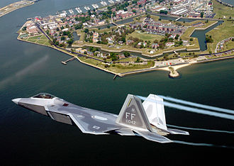 Joint Base Langley–Eustis - A U.S. Air Force F-22A Raptor flies over Fort Monroe, Virginia in 2005