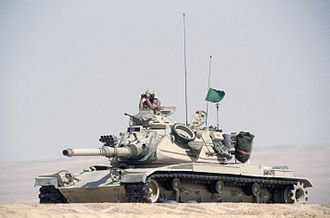 70th Armor Regiment - M60A3 main battle tank from Company A, 2nd Battalion, 70th Armor, 24th Infantry Division, conducting gunnery practice during the multinational joint service Exercise BRIGHT STAR '85 in Egypt, August 1985.