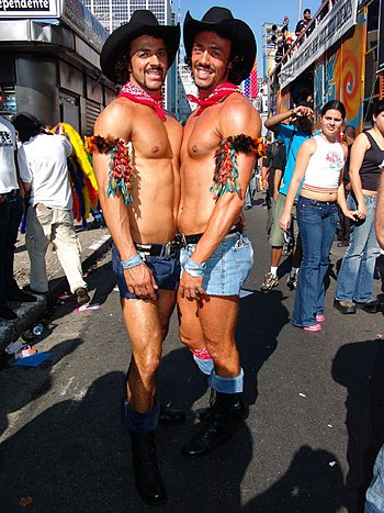 Gay Couple as Cowboys on the Gay Pride 2005 in...