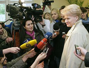 Dalia Grybauskaitė - Grybauskaitė giving an interview during her 2009 presidential campaign.