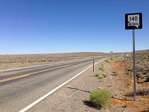 Nevada State Route 140 - First reassurance shield along eastbound SR 140 after crossing the Oregon border