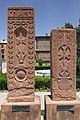 2014 Prowincja Armawir, Wagharszapat, Chaczkary (z 1602 i 1603 roku) ze zniszczonego cmentarza w Dżulfie.JPG