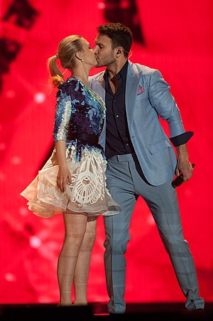 Lithuania in the Eurovision Song Contest 2015 - Monika Linkytė and Vaidas Baumila at a dress rehearsal for the second semi-final