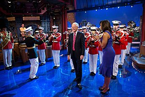 "A detachment of ""The President's Own"", the U.S. Marine Band, appears with First Lady of the United States Michelle Obama on The Late Show with David Letterman in 2015"
