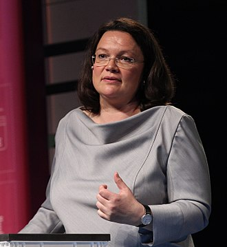 Leader of the Social Democratic Party of Germany - Image: 2017 05 09 Andrea Nahles (re publica 17) by Sandro Halank–17