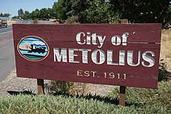 City of Metolius Welcome Sign