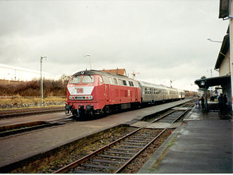 Vogelsberg Railway - Locomotive 216 191 in Lauterbach Nord on 13 December 1997 with RB 8409 from Gießen