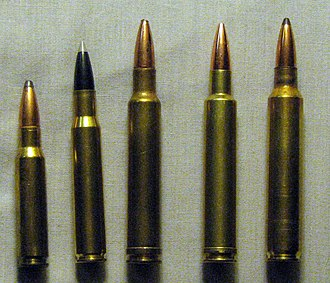 ICL cartridges - Left to right: .308 Win, .30-06, .300 Weatherby, .300 ICL Grizzly, .300 RUM