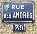 39, rue des Andrés, numéro de rue à Saint-Maurice-de-Beynost (Ain, France) et panneau de rue.jpg