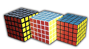 Professor's Cube - Official Professor's Cube (left), V-Cube 5 (center) and Eastsheen 5×5×5 (right)