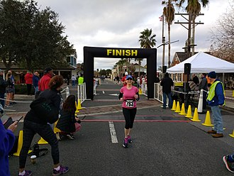 The Villages, Florida - The finish line of a 5K run in Lake Sumter Landing in 2018.