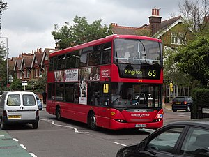 London Buses route 65 - London United Scania OmniCity in Kingston in May 2012