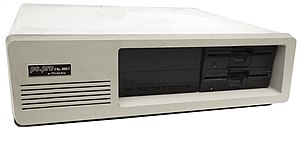 "Intel 8088 - Front view of a PC powered by the Intel 8088 CPU with two 5¼"" floppy disk drives"