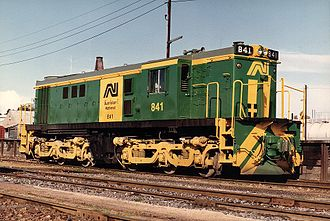 Australian National Railways Commission - An 830 class lcomotive in the Australian National colour scheme at Mount Gambier in 1983