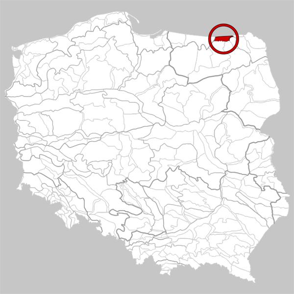 Kraina Węgorapy - zasięg regionu w granicach Polski. Źródło: Wiki Commons, autor: Qqerim, lic. Creative Commons.