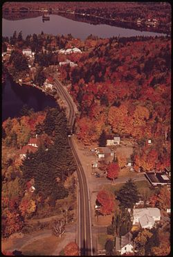 Aerial view of Inlet, New York, in 1973