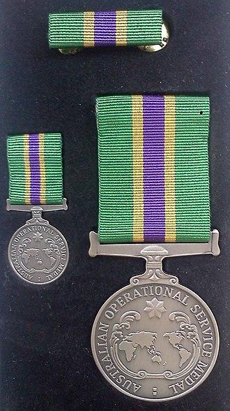 Australian Operational Service Medal - AOSM with Civilian ribbon