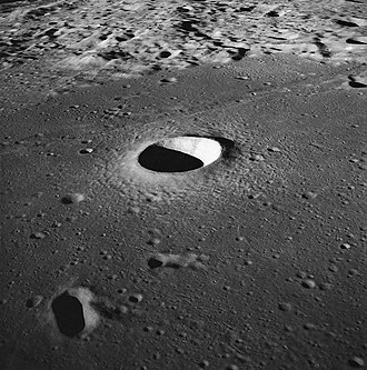 Lunar craters - Side view of the Moltke crater taken from Apollo 10.