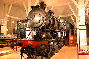 SJ A - The boiler and some other parts of the preserved locomotive have been cut open to show how a steam locomotive works.