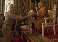 A U.S. Navy chaplain, presents a gift to the Supreme Patriarch of Thailand during Exercise Cobra Gold. (40336881442).jpg