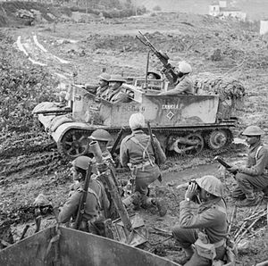 8th Infantry Division (India) - Universal Carrier and mortar team of the 6th Battalion, 13th Frontier Force Rifles, between Lanciano and Osogna on the central sector of the Eighth Army's front, 13 December 1943.
