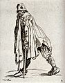 A bearded beggar dressed in rags walking on two crutches. Et Wellcome V0020331.jpg