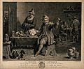 A physician in his surgery and workshop examining a urine fl Wellcome V0016155.jpg