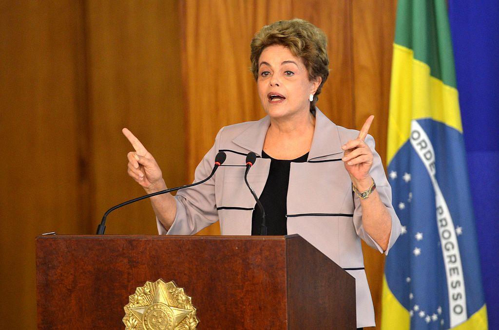 A presidente Dilma Rousseff durante cerimônia contra o impeachment em 31 de março de 2016