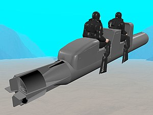 "Wet sub - CGI image of human torpedo: British Mk 1 ""chariot"" ridden by two frogmen with UBA rebreathers. The warhead is detached from the vehicle for placement upon or under a ship, allowing the operators to use the machine for escape."