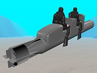 Chariot manned torpedo - Schematic of two frogmen going into action on a Mk I Chariot, wearing UBA Rebreathers