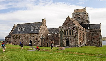 Iona Abbey, an early centre of Christianity in Scotland Abbey on the Isle of Iona - geograph.org.uk - 1459438.jpg
