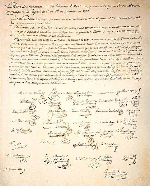 Archivo:Acta Independencia Mexicana 1821.jpg