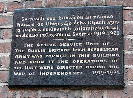 Wall plaque in Great Denmark Street, Dublin where the Dublin IRA Active Service Unit was founded. Active service Unite of the Dublin Brigade.jpg