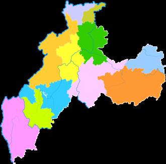 Zhaotong - Image: Administrative Division Zhaotong
