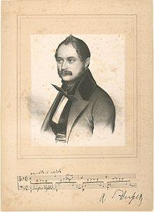 Portrait of Adolf von Henselt, with scrap of music (Source: Wikimedia)