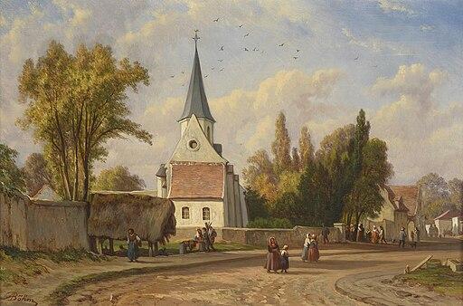 Adolph Böhm - Belebte Dorfstraße (1890)