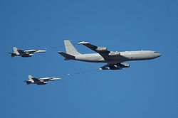 Aerial refueling MD F-A-18A Hornet - Boeing 707-331B - Spain National Day.jpg
