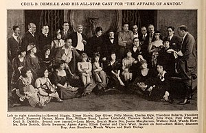 Anne Bauchens - Cast and crew from The Affairs of Anatol (1921), Bauchens is third from the left in the front row